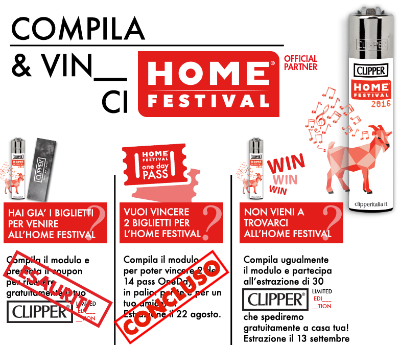 Registrazione Clipper Home Festival 2016 Limited Edition